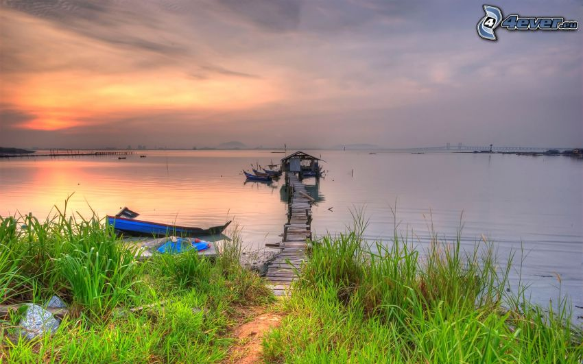 wooden pier, abandoned boat, sunset over the lake, green grass, grass on the shore of the lake