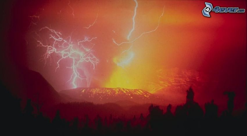 lightning, mountain, volcano