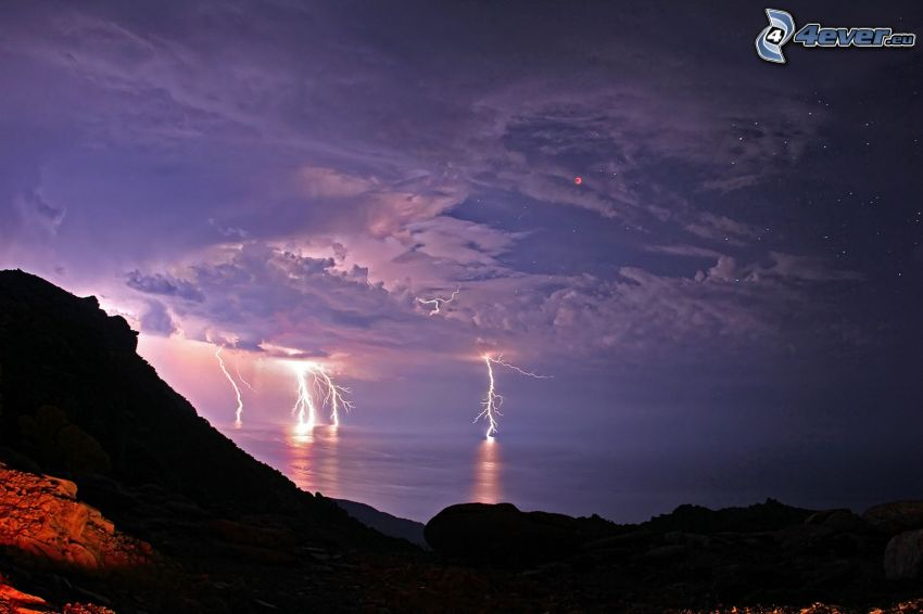 lightning, rocks, sea