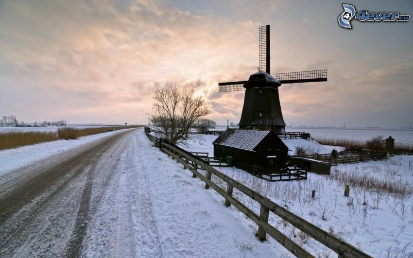 mill, snow-covered road