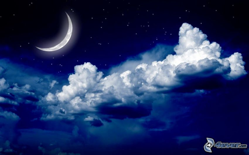 moon, dark clouds, starry sky, night