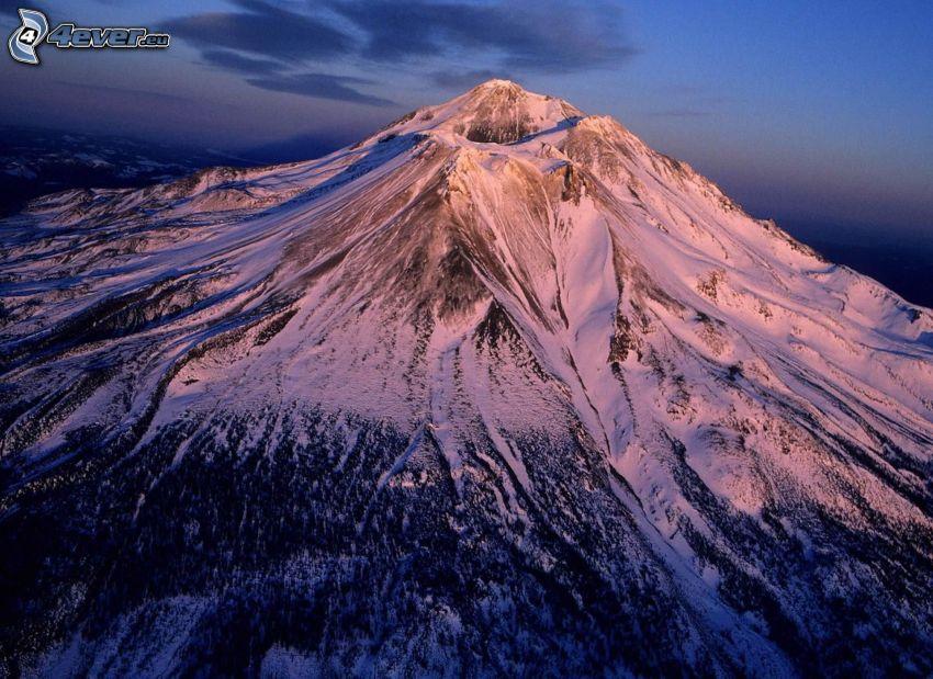 Mount Shasta, volcano, snow