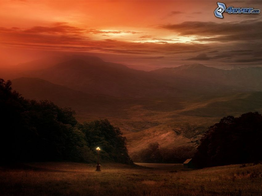 mountain, valley, orange sky