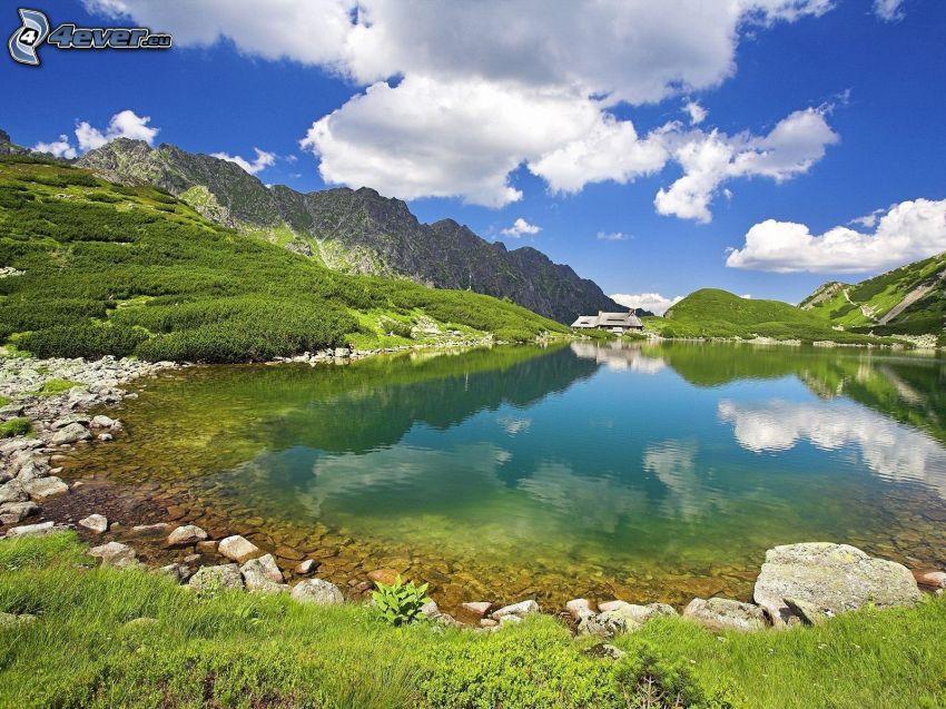 mountain lake, mountains, clouds
