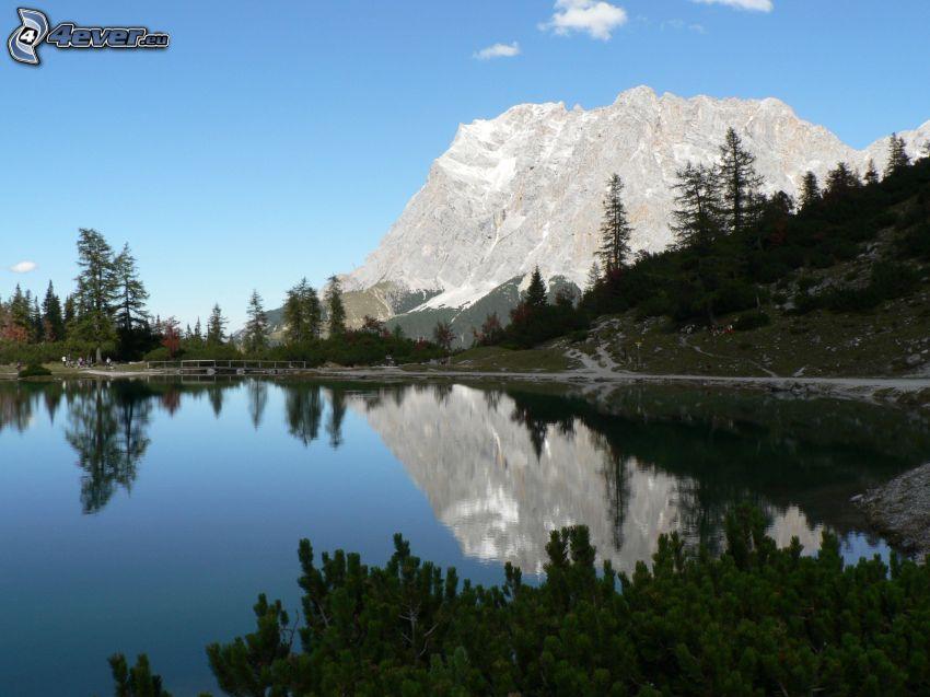 mountain lake, rocky hill