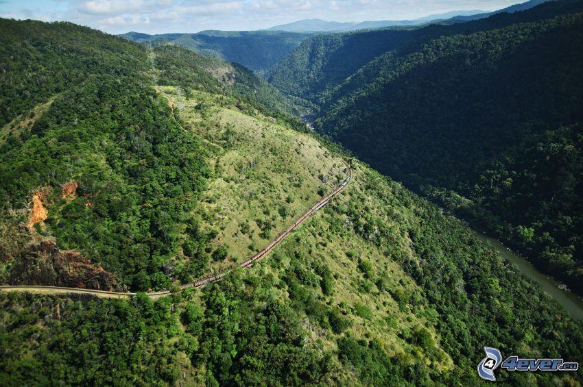 mountains, railway, train, forest
