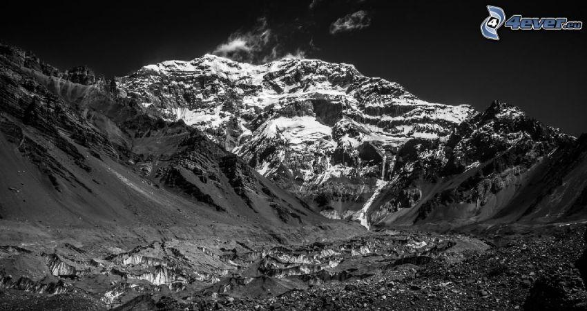 Aconcagua, black and white photo