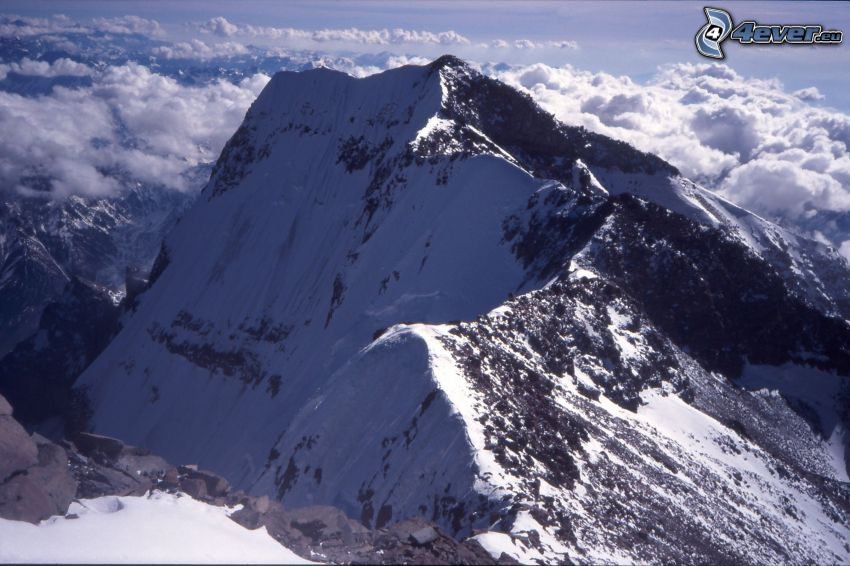 Aconcagua, over the clouds, snowy mountains