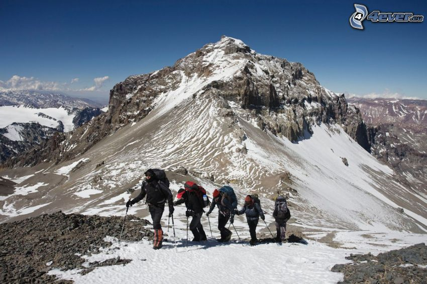Aconcagua, rocky mountain, tourists