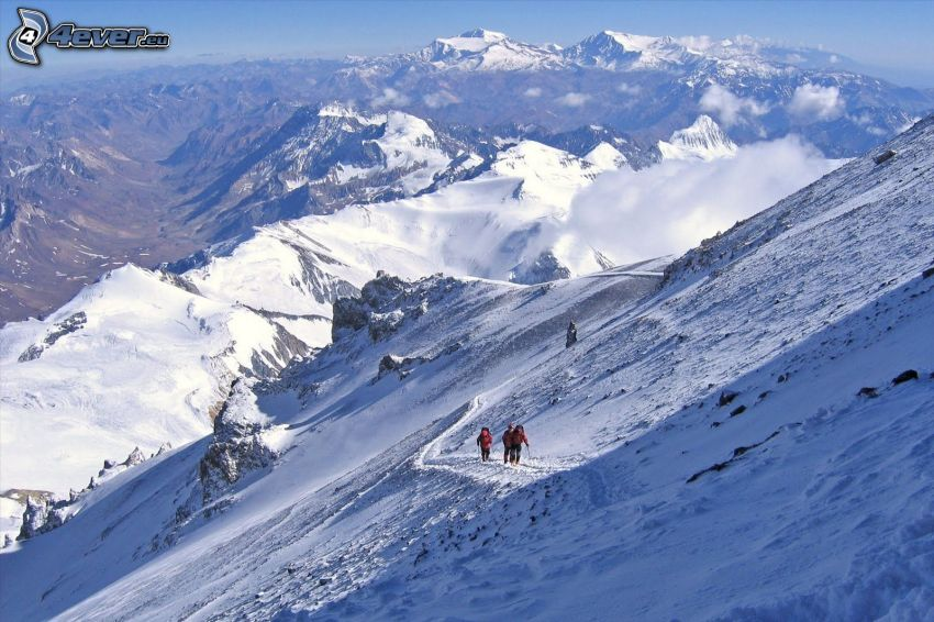 Aconcagua, snowy mountains, tourists