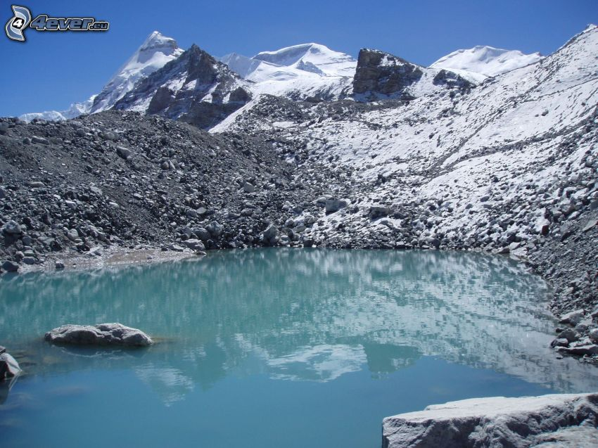 Cho Oyu, rocky mountains, mountain lake, snow