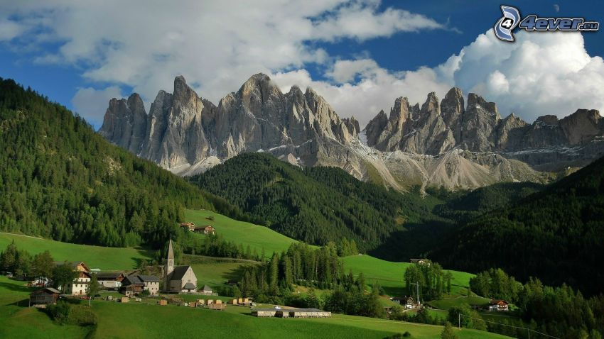 Dolomites, rocky mountains, coniferous forest, church, meadow