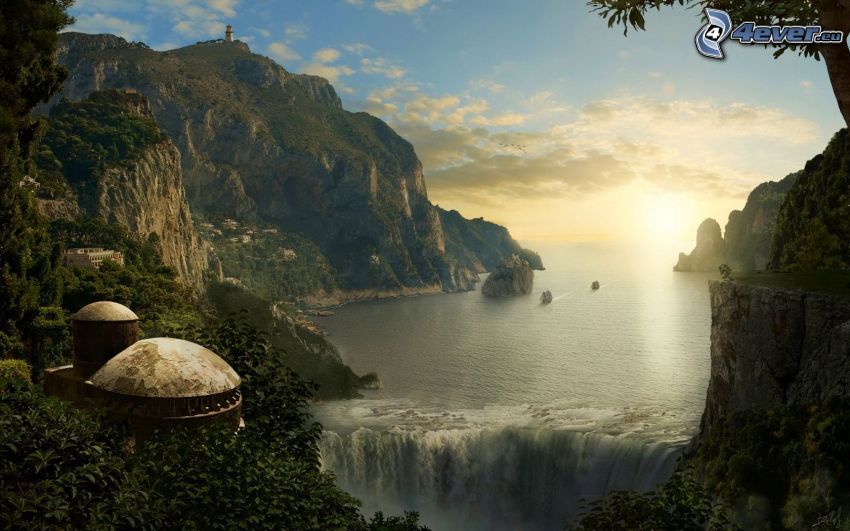 fantasy land, rocky mountains, rocks in the sea, waterfall