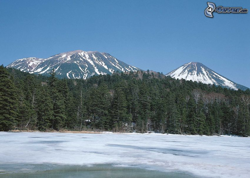 forest, frozen lake, snowy mountains, Japan