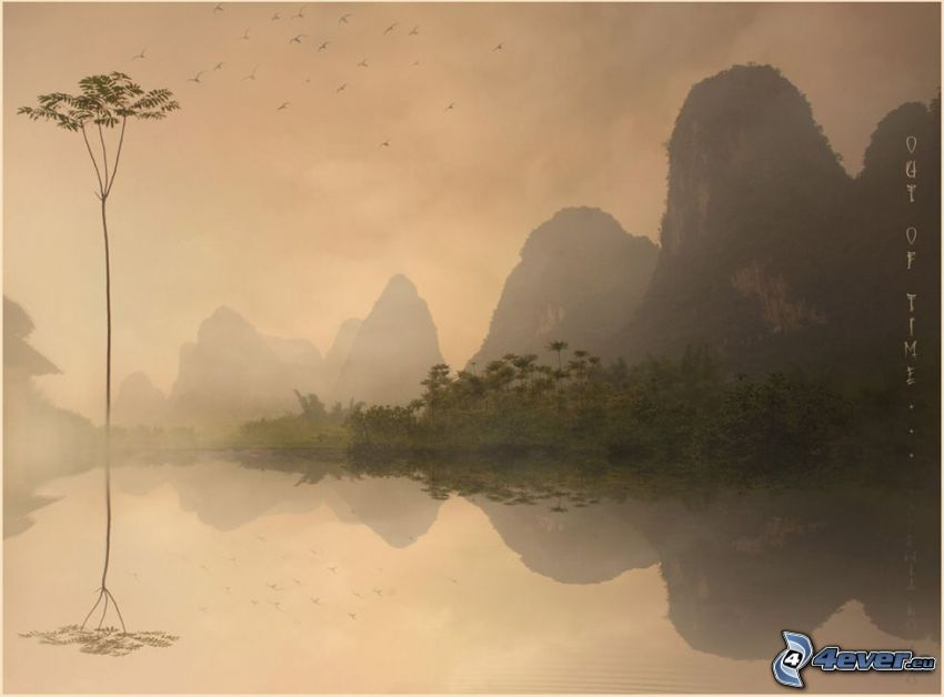 high mountains, reflection, lake, fog, tree, birds