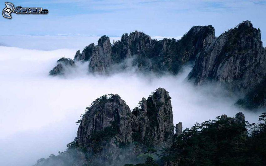 high mountains, rocky mountains, ground fog