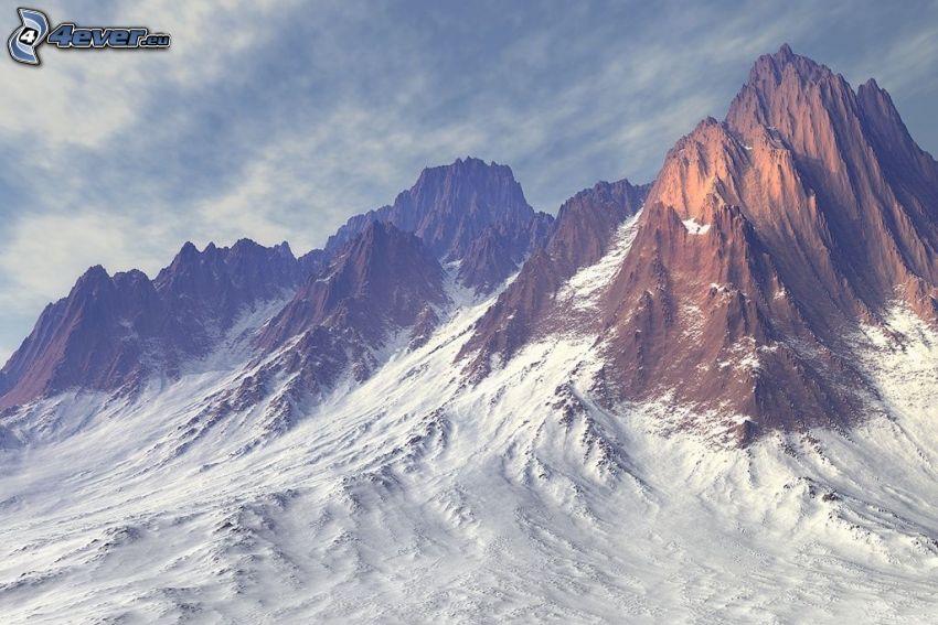 high mountains, rocky mountains, snowy mountains
