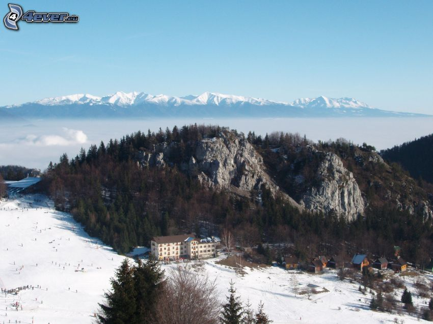 High Tatras, winter, mountain, hill, snow, hotel, valley, fog, ski tow