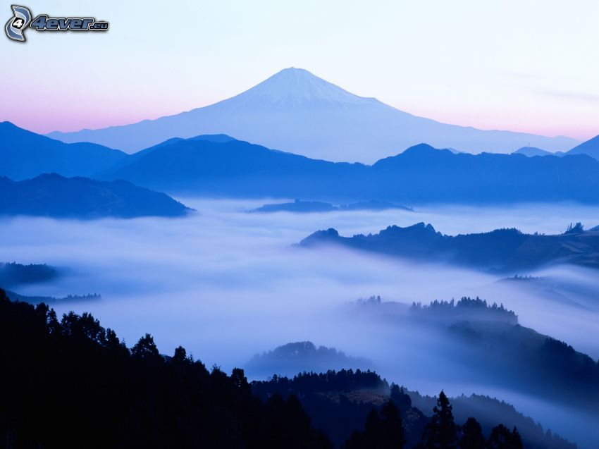 hills, ground fog