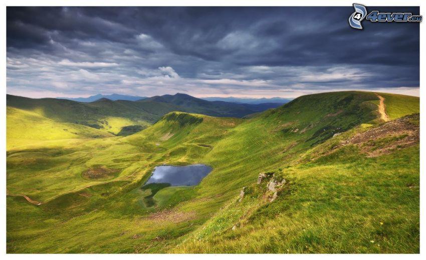 hills, mountain lake, view