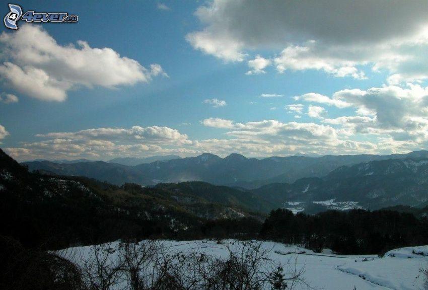 hills, snow, clouds