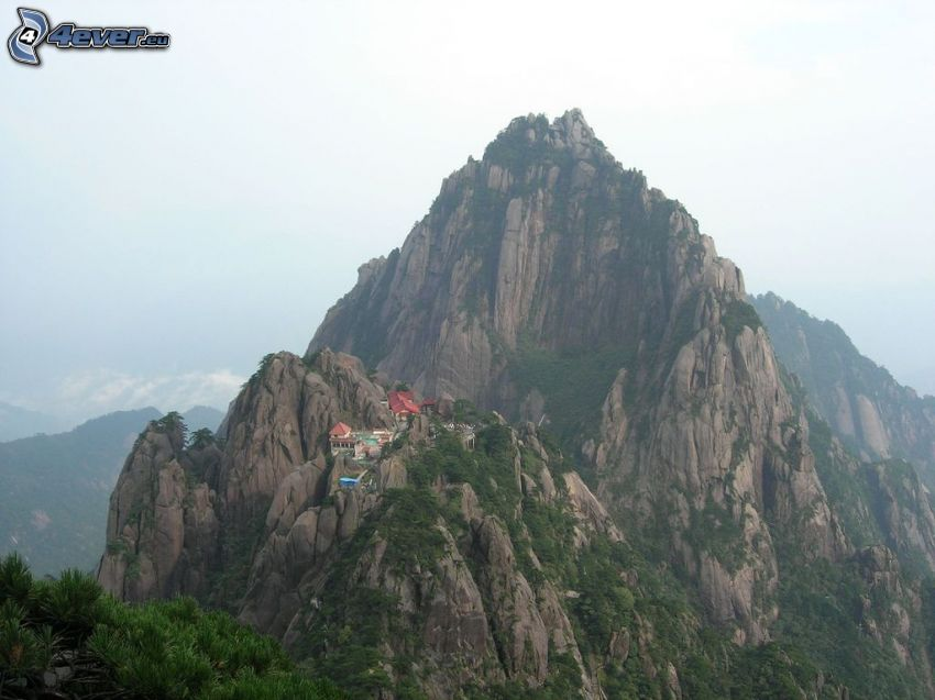 Huangshan, rocky mountains, houses