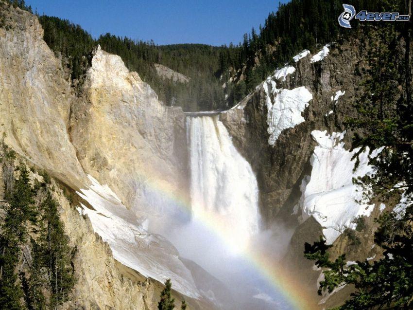 huge waterfall, rainbow, rocks, forest