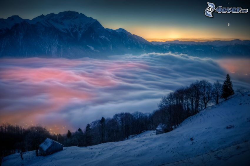 inversion, rocky mountains, clouds, snow, sunrise, trees, cottage