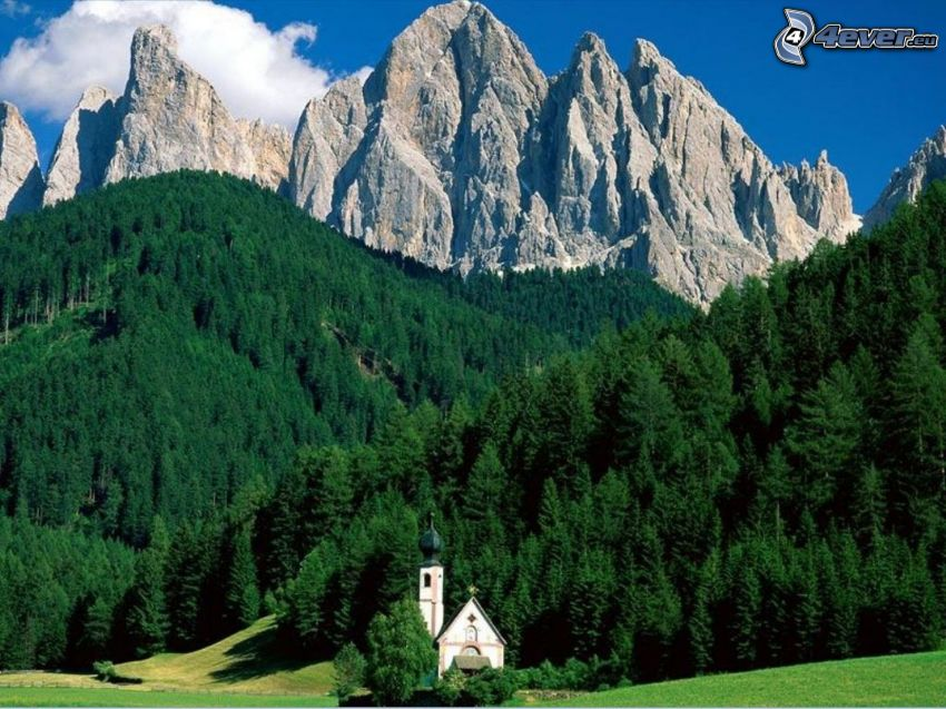 Italian Alps, Dolomites, church, coniferous forest, mountains
