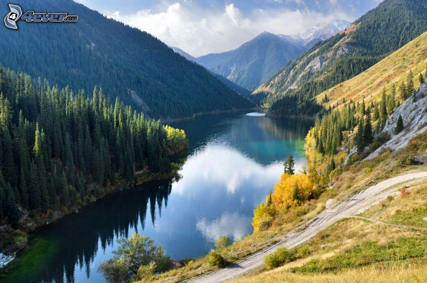 Kolsai Lakes, hills, coniferous forest