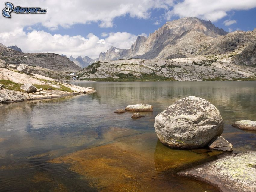 lake, boulder, rocky hills
