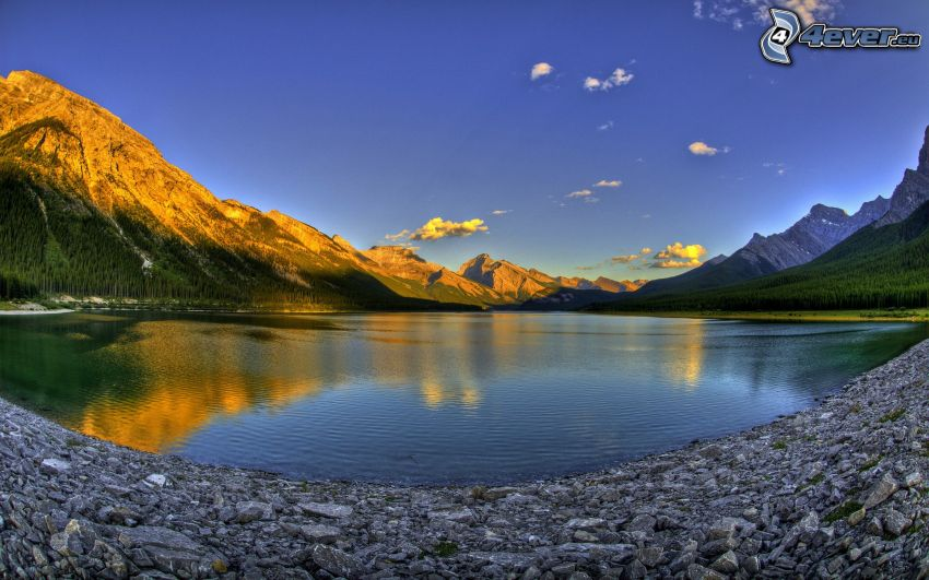 lake, mountains, sunrise