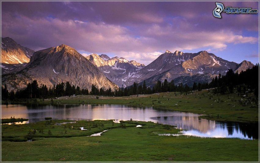 lake, rocky mountains, snow