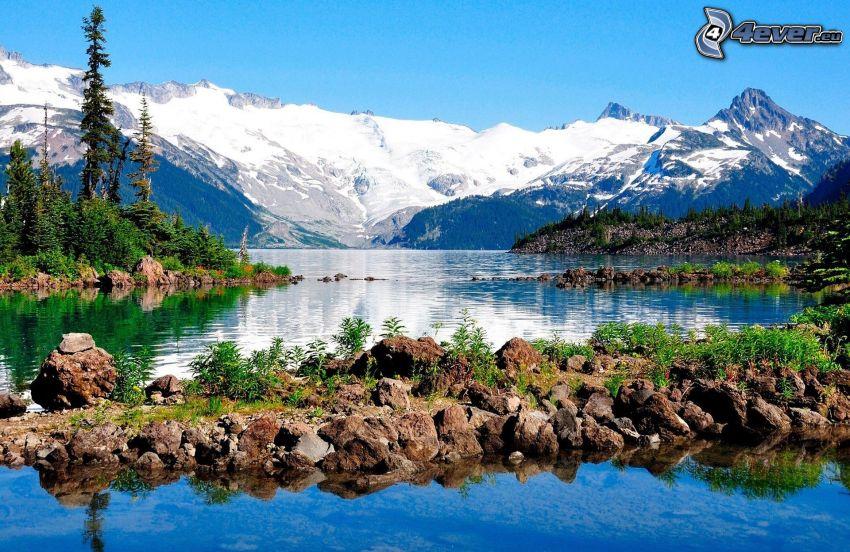 lake, snowy mountains