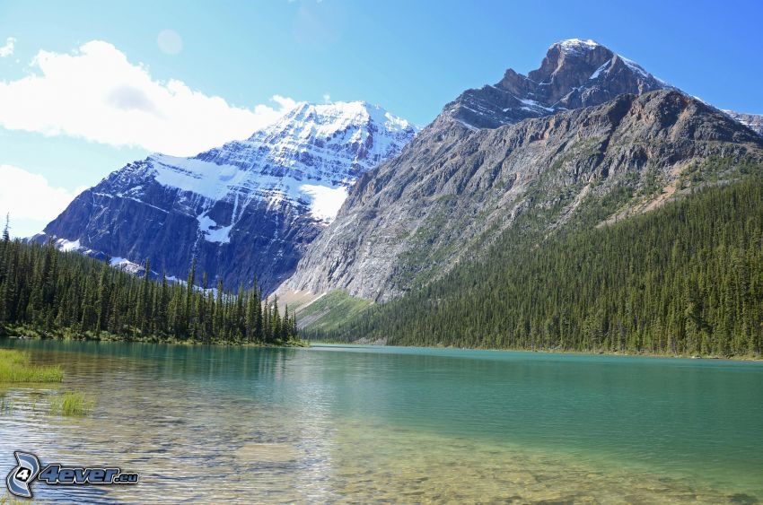 Mount Edith Cavell, rocky mountains, mountain lake