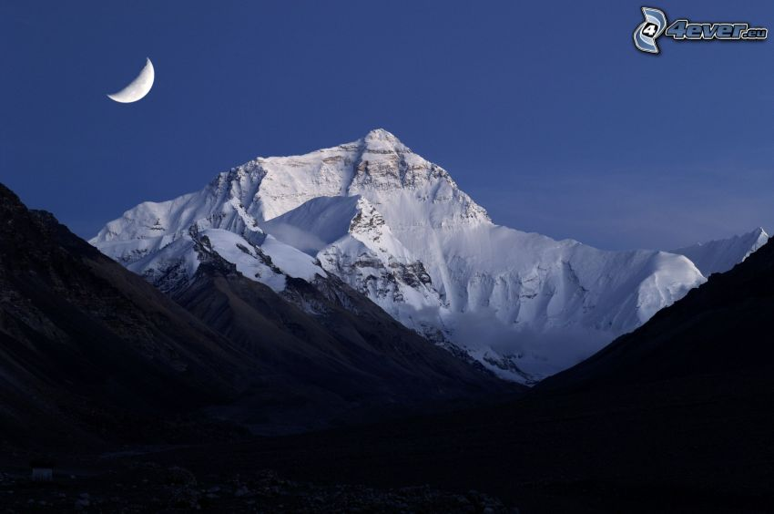 Mount Everest, snowy hill, Moon