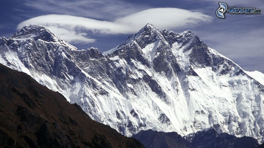 Mount Everest, snowy mountains, clouds