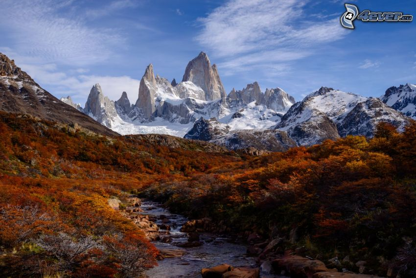 Mount Fitz Roy, bushes, stream, rocky mountains