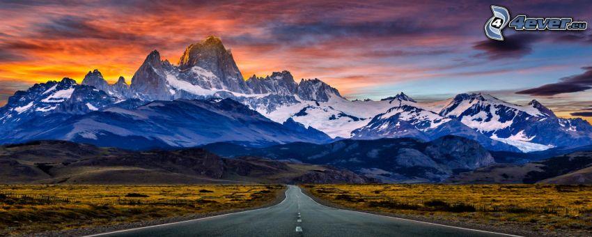 Mount Fitz Roy, road, rocky mountains, snow