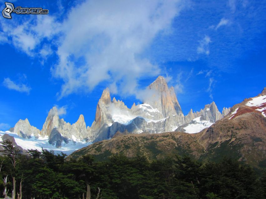 Mount Fitz Roy, rocky mountains, cloud