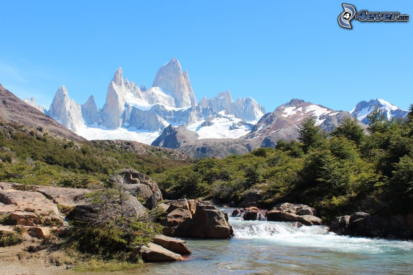 Mount Fitz Roy, rocky mountains, River, forest