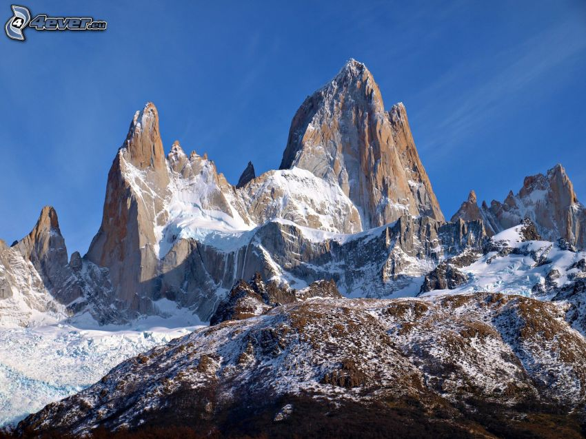 Mount Fitz Roy, rocky mountains, snow