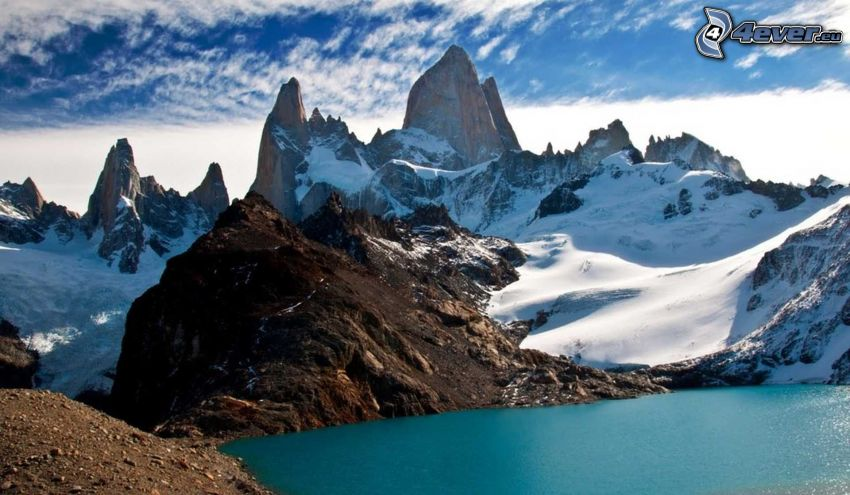 Mount Fitz Roy, snow, mountain lake, rocky mountains