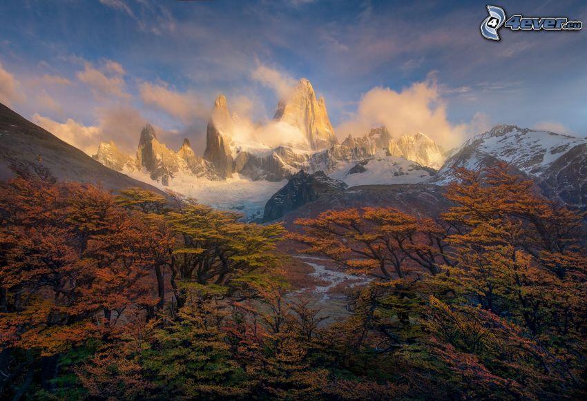 Mount Fitz Roy, snow, rocky mountains, autumn trees