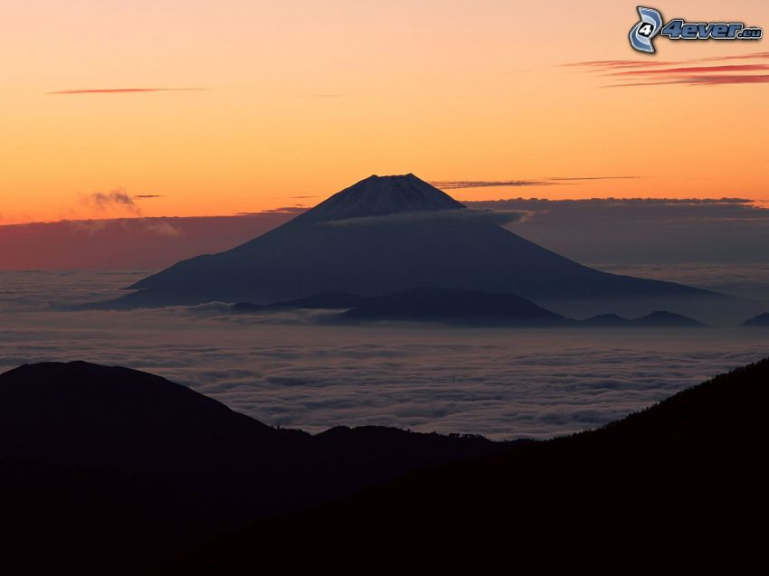 mount Fuji, clouds, landscape