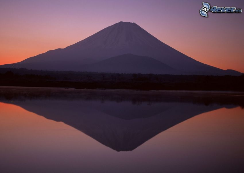 mount Fuji, lake, reflection, after sunset
