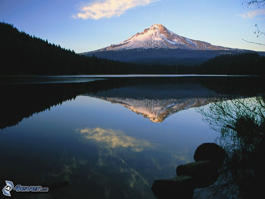Mount Hood, snowy hill, lake, reflection