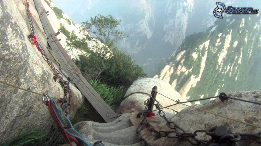 Mount Huang, chains, sidewalk, danger, view