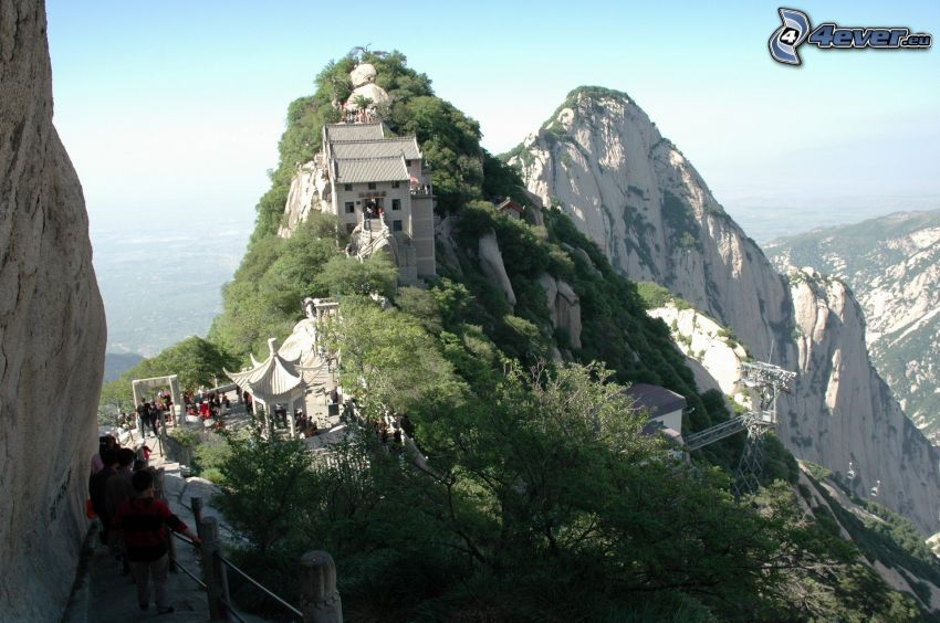 Mount Huang, house, sidewalk, rocky mountains