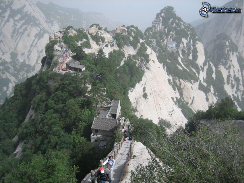 Mount Huang, rocky mountains, sidewalk, tourists